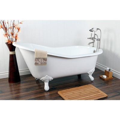 "Kingston Brass Aqua Eden 61"" Cast Iron Safe & Anti-Slide Slipper Freestanding Bathtub with 7"" Faucet Drillings White Front View in Bathroom"