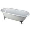 "Kingston Brass Aqua Eden 66"" Cast Iron Double Ended Clawfoot Bathtub 7"" Drillings Polished Chrome Front View White Background"
