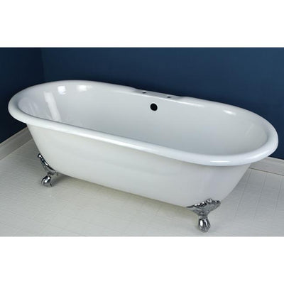 "Kingston Brass Aqua Eden 66"" Cast Iron Double Ended Clawfoot Bathtub 7"" Drillings Satin Drillings Front View in Bathroom"