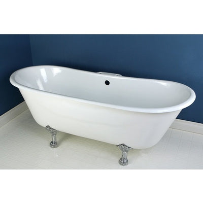 "Kingston Brass Aqua Eden 67"" Cast Iron Double Slipper Clawfoot Bathtub Freestanding Clawfoot Bathtubs 7"" Drillings Chrome Front View in Bathroom"