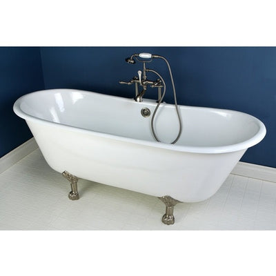 "Kingston Brass Aqua Eden 67"" Cast Iron Double Slipper Clawfoot Bathtub Freestanding Clawfoot Bathtubs Faucet Satin Nickel Front View in Bathroom"