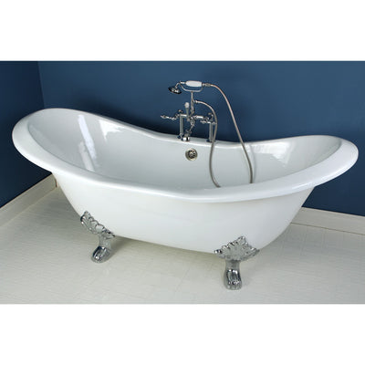 "Kingston Brass Aqua Eden 72"" Cast Iron Double Slipper Clawfoot Freestanding Bathtub Faucet Chrome Front View in Bathroom"