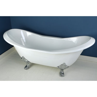 "Kingston Brass Aqua Eden 72"" Cast Iron Double Slipper Clawfoot Freestanding Bathtub Chrome Front View in Bathroom"