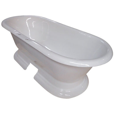 "Kingston Brass Aqua Eden 72"" Cast Iron Double Ended Pedestal Bathtub Freestanding Clawfoot Bathtubs Side View White Background"