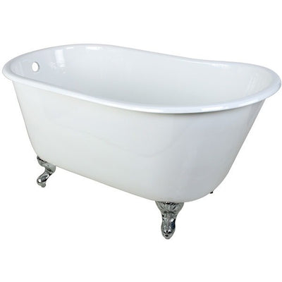 "Kingston Brass Aqua Eden 53"" Cast Iron Slipper Clawfoot Bathtub Freestanding Clawfoot Bathtubs Polished Chrome Feet Front View White Background"