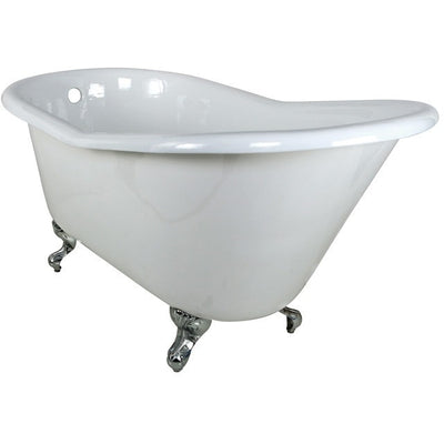 "Kingston Brass Aqua Eden 60"" Cast Iron Slipper Clawfoot Bathtub - Affordable Cheap Freestanding Clawfoot Bathtubs Chrome Front View White Background"