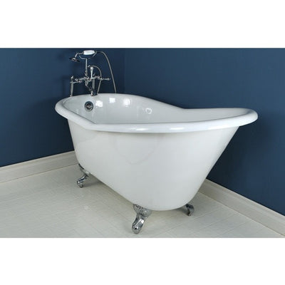 "Kingston Brass Aqua Eden 60"" Cast Iron Slipper Clawfoot Bathtub - Affordable Cheap Freestanding Clawfoot Bathtubs Faucet Chrome Front View in BAthroom"