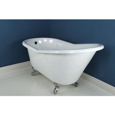 "Kingston Brass Aqua Eden 60"" Cast Iron Slipper Clawfoot Bathtub - Affordable Cheap Freestanding Clawfoot Bathtubs Chrome Front View in Bathroom"