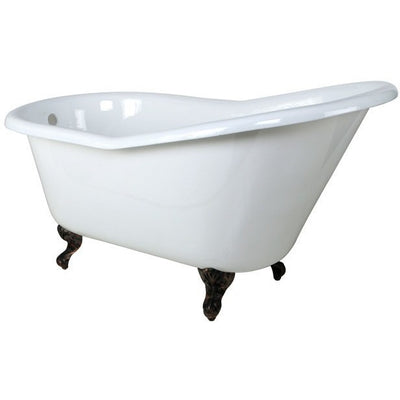 "Kingston Brass Aqua Eden 60"" Cast Iron Slipper Clawfoot Bathtub - Affordable Cheap Freestanding Clawfoot Bathtubs Oil Rubbed Bronze Front View White Background"