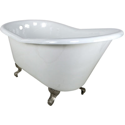 "Kingston Brass Aqua Eden 60"" Cast Iron Slipper Clawfoot Bathtub - Affordable Cheap Freestanding Clawfoot Bathtubs Satin Nickel Front View White Background"
