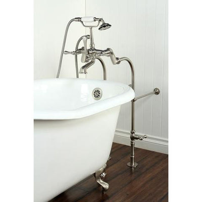 "Kingston Brass Aqua Eden 60"" Cast Iron Slipper Clawfoot Bathtub - Affordable Cheap Freestanding Clawfoot Bathtubs with Faucet Left Side View on Brown Floor"