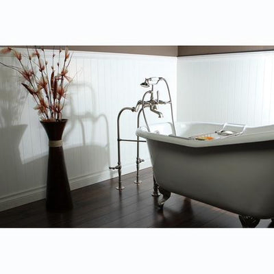 "Kingston Brass Aqua Eden 60"" Cast Iron Slipper Clawfoot Bathtub - Affordable Cheap Freestanding Clawfoot Bathtubs With Faucet Side View on Brown Floor"