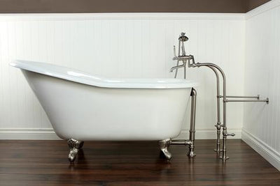"Kingston Brass Aqua Eden 60"" Cast Iron Slipper Clawfoot Bathtub - Affordable Cheap Freestanding Clawfoot Bathtubs with Faucet Front View on Brown Floor"