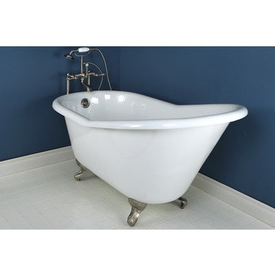 "Kingston Brass Aqua Eden 60"" Cast Iron Slipper Clawfoot Bathtub - Affordable Cheap Freestanding Clawfoot Bathtubs Faucet Satin Nickel Front View in Bathroom"