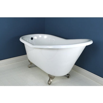 "Kingston Brass Aqua Eden 60"" Cast Iron Slipper Clawfoot Bathtub - Affordable Cheap Freestanding Clawfoot Bathtubs Satin Nickel Front View in Bathroom"