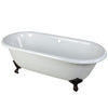"Kingston Brass Aqua Eden 66"" Cast Iron Double Ended Clawfoot Bathtub Oil Rubbed Bronze Front View White Background"