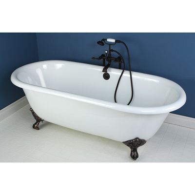 "Kingston Brass Aqua Eden 66"" Cast Iron Double Ended Clawfoot Bathtub Faucet Oil Rubbed Bronze Front View in Bathroom"