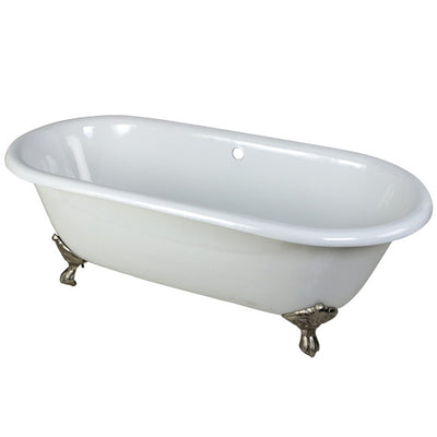 "Kingston Brass Aqua Eden 66"" Cast Iron Double Ended Clawfoot Bathtub Polished Chrome Front View White Background"