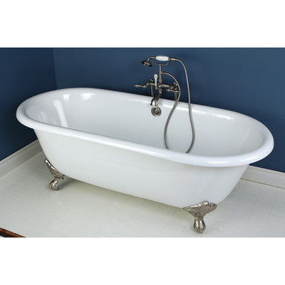 "Kingston Brass Aqua Eden 66"" Cast Iron Double Ended Clawfoot Bathtub Faucet Satin Nickel Front View White Background"