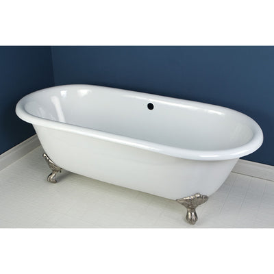 "Kingston Brass Aqua Eden 66"" Cast Iron Double Ended Clawfoot Bathtub Satin Nickel Front View in Bathroom"