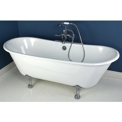 "Kingston Brass Aqua Eden 67"" Cast Iron Double Slipper Clawfoot Bathtub Freestanding Clawfoot Bathtubs Chrome Faucet Front View in Bathroom"