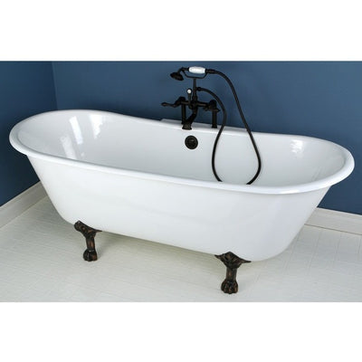 "Kingston Brass Aqua Eden 67"" Cast Iron Double Slipper Clawfoot Bathtub Freestanding Clawfoot Bathtubs Faucet Oil Rubbed Bronze Front View in Bathroom"
