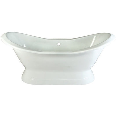 "Kingston Brass Aqua Eden 72"" Cast Iron Double Slipper Pedestal Bathtub Freestanding Clawfoot Bathtubs Front View White Background"