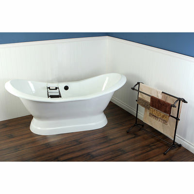 "Kingston Brass Aqua Eden 72"" Cast Iron Double Slipper Pedestal Bathtub Freestanding Clawfoot Bathtubs Side View in Bathroom"