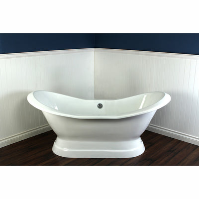 "Kingston Brass Aqua Eden 72"" Cast Iron Double Slipper Pedestal Bathtub Freestanding Clawfoot Bathtubs Front View in Bathroom"