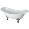 "Kingston Brass Aqua Eden 72"" Cast Iron Double Slipper Clawfoot Freestanding Bathtub Chrome Front View White Background"