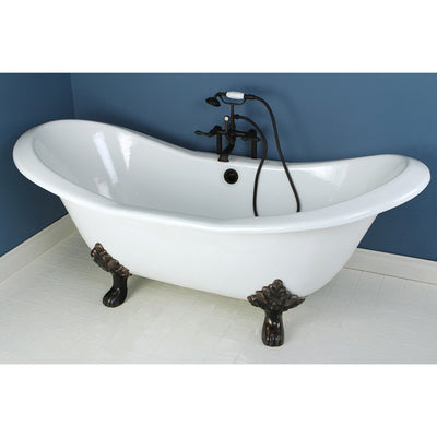 "Kingston Brass Aqua Eden 72"" Cast Iron Double Slipper Clawfoot Freestanding Bathtub Faucet Oil Rubbed Bronze Front View in Bathroom"
