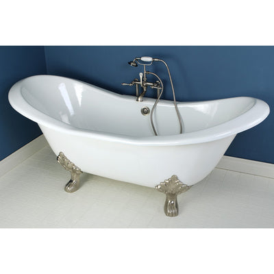 "Kingston Brass Aqua Eden 72"" Cast Iron Double Slipper Clawfoot Freestanding Bathtub Faucet Satin Nickel Front View in Bathroom"