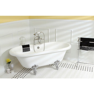 "Kingston Brass Aqua Eden Dynasty 67"" Acrylic Clawfoot Double Ended Tub without Drillings Freestanding Clawfoot Bathtubs Faucet Chrome Side View in Bathroom"