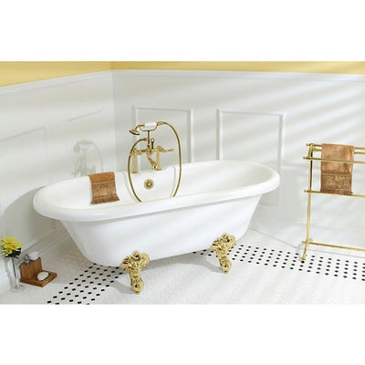 "Kingston Brass Aqua Eden Dynasty 67"" Acrylic Clawfoot Double Ended Tub without Drillings Freestanding Clawfoot Bathtubs Faucet Polished Brass Side View in Bathroom"