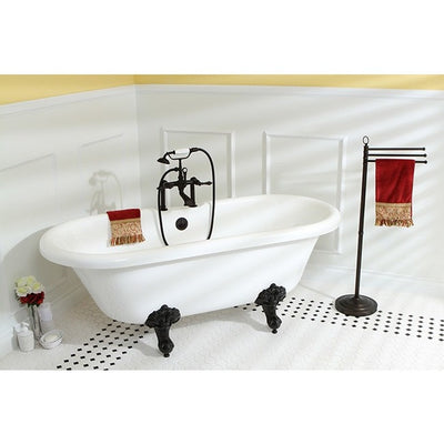 "Kingston Brass Aqua Eden Dynasty 67"" Acrylic Clawfoot Double Ended Tub without Drillings Freestanding Clawfoot Bathtubs Faucet Oil Rubbed Bronze Side View in Bathroom"