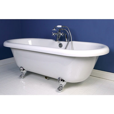 "Kingston Brass Aqua Eden 67"" Double Ended Acrylic Tub Freestanding Clawfoot Bathtubs Faucet Chrome Side View in Bathroom"