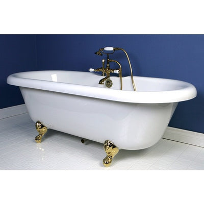 "Kingston Brass Aqua Eden 67"" Double Ended Acrylic Tub Freestanding Clawfoot Bathtubs Faucet Polished Brass Side View in Bathroom"