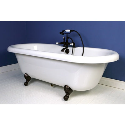 "Kingston Brass Aqua Eden 67"" Double Ended Acrylic Tub Freestanding Clawfoot Bathtubs Faucet Oil Rubbed Bronze Side View in Bathroom"
