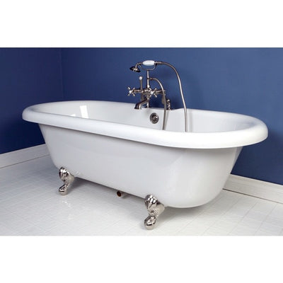 "Kingston Brass Aqua Eden 67"" Double Ended Acrylic Tub Freestanding Clawfoot Bathtubs Faucet Satin Nickel Side View in Bathroom"
