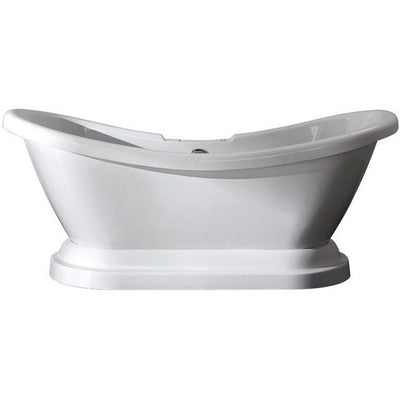 "Kingston Brass Aqua Eden 69"" Contemporary Pedestal Double Slipper Acrylic Bath Tub with 7"" Deck Drillings Freestanding Clawfoot Bathtubs Front View White Background"