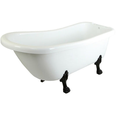 "Kingston Brass Aqua Eden 67"" Slipper Acrylic Tub with 7"" Deck Drillings Freestanding Clawfoot Bathtubs Oil Rubbed Bronze Side View White Background"