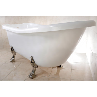 "Kingston Brass Aqua Eden 67"" Slipper Acrylic Tub with 7"" Deck Drillings Freestanding Clawfoot Bathtubs Satin Nickel Side View White Background"