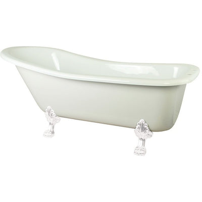 "Kingston Brass Aqua Eden 67"" Slipper Acrylic Tub with 7"" Deck Drillings Freestanding Clawfoot Bathtubs White Side View White Background"
