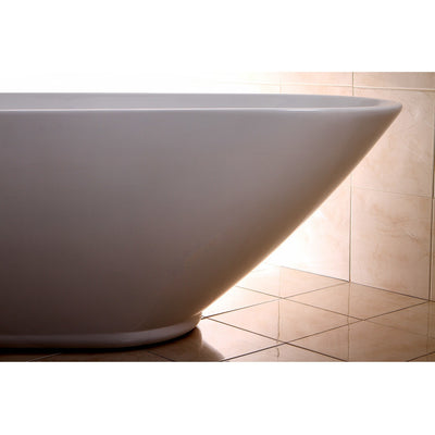 "Kingston Brass Aqua Eden 69"" Contemporary Freestanding Acrylic Bathtub Freestanding Clawfoot Bathtubs Right Corner Side View"