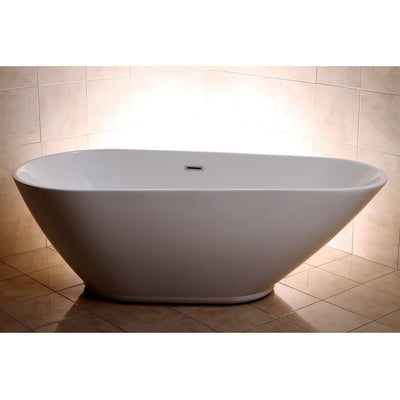 "Kingston Brass Aqua Eden 69"" Contemporary Freestanding Acrylic Bathtub Freestanding Clawfoot Bathtubs Front View in Bathroom"