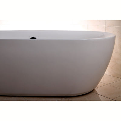 "Kingston Brass Aqua Eden 71"" Contemporary Freestanding Acrylic Bathtub Freestanding Clawfoot Bathtubs Right Side Corner View"