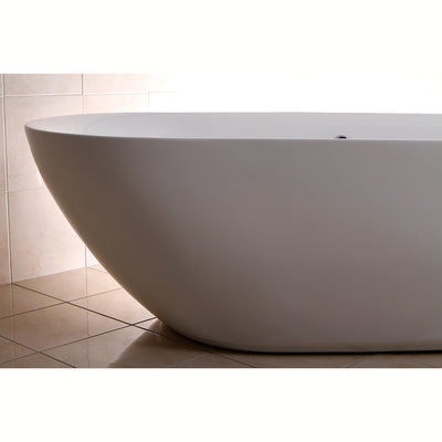"Kingston Brass Aqua Eden 71"" Contemporary Freestanding Acrylic Bathtub Freestanding Clawfoot Bathtubs Left Side Corner View"