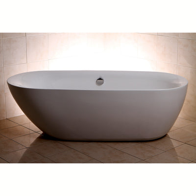 "Kingston Brass Aqua Eden 71"" Contemporary Freestanding Acrylic Bathtub Freestanding Clawfoot Bathtubs Front View in Brown Room"