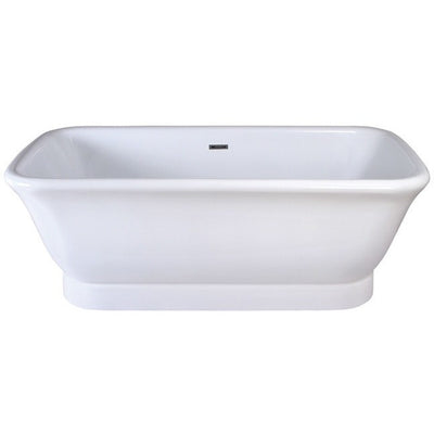 "Kingston Brass Aqua Eden 71"" Contemporary Pedestal Double Ended Acrylic Bath Tub with Drain Freestanding Clawfoot Bathtubs Front View White Background"