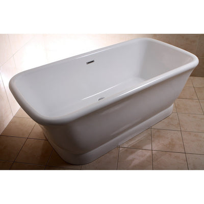 "Kingston Brass Aqua Eden 71"" Contemporary Pedestal Double Ended Acrylic Bath Tub with Drain Freestanding Clawfoot Bathtubs Top View in Bathroom"